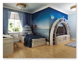 Cameretta stile marina progettazione interni roma for Tessuti arredo stile marina